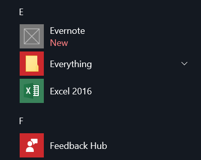 Evernote app on Start menu